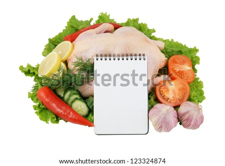 Raw chicken with vegetables with blank paper page isolated on white background - stock photo