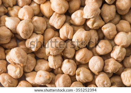 Raw chickpea seeds isolated on white background