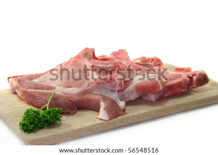 raw chops on a white background