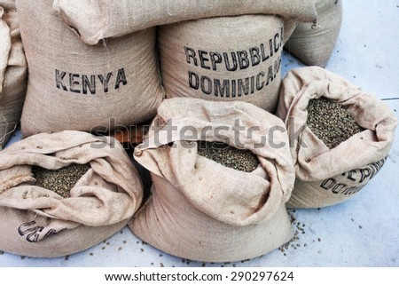 raw coffee - stock photo