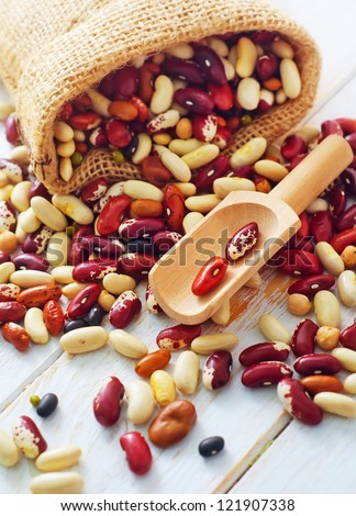 Raw color beans - stock photo