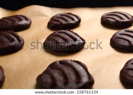 Raw cookies before baking. Making Chocolate Cookies. - stock photo