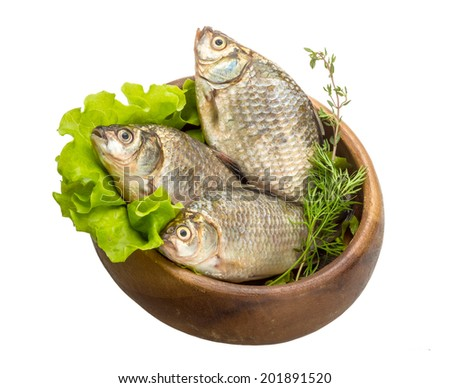 Raw Crucian fish - ready for cooking