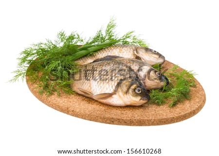 Raw Crucian on the plate with dill