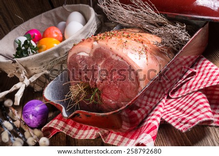 raw Easter roast - crisp and fresh - stock photo