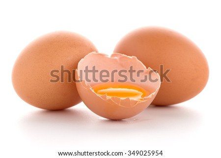Raw eggs isolated on white background