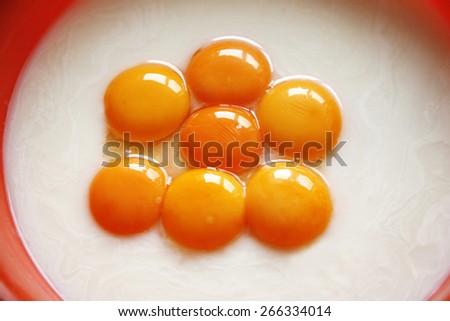 Raw eggs. Yellow yolk as food ingredients. Egg yolk closeup as a background. Raw eggs in a bowl - stock photo