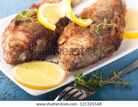 Raw European carp with a thyme and lemon, living fish - stock photo