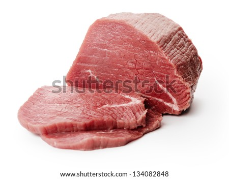 Raw fillet steaks on white background - stock photo