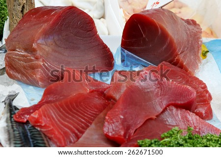 Raw fillets of yellow fin tuna meat - stock photo