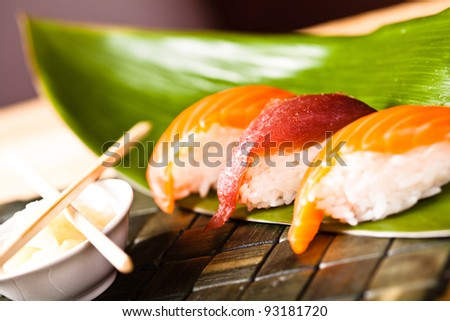 raw fish and sushi