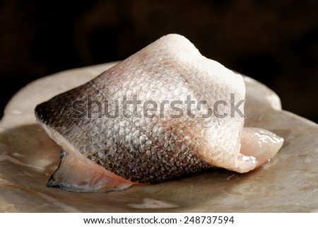 Raw fish fillet - Seabass - stock photo