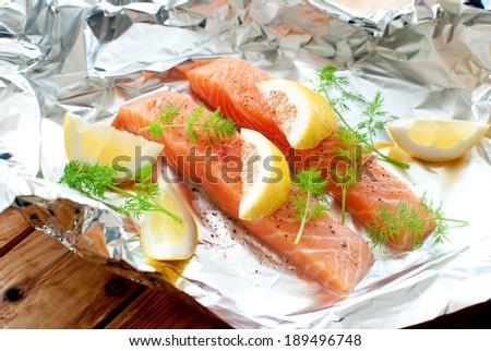 Raw fish fillets - stock photo