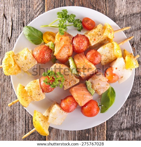 raw fish skewer - stock photo