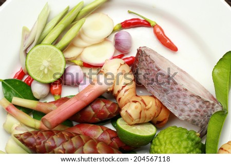 Raw fish with fresh herbs and spices (chili, lime, lemon grass, galangal  and kaffir lime)