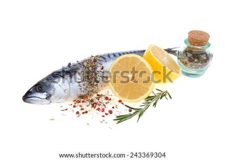 Raw fish with lemon and rosemary isolated on white background - stock photo