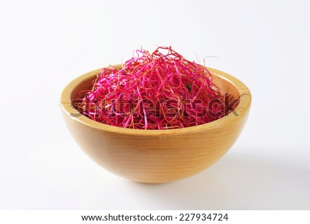 Raw food - Red beet sprouts - stock photo