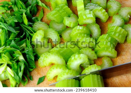 raw fresh celery with green onion - stock photo