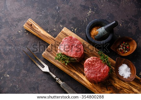 Raw fresh marbled meat Steak filet mignon and 