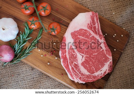 Raw fresh meat Ribeye steak - stock photo