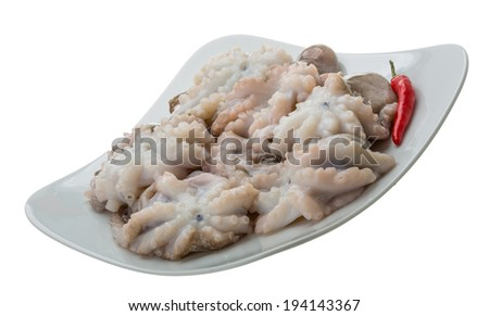 Raw fresh octopus isolated on white