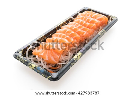 Raw fresh Salmon Sashimi meat in black box isolated on white background - Japanese food style
