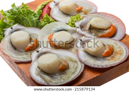 Raw fresh scallop ready for cooking
