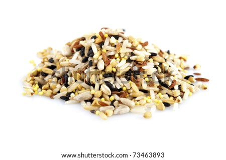 Raw grains, mixed with 12 different grains - stock photo