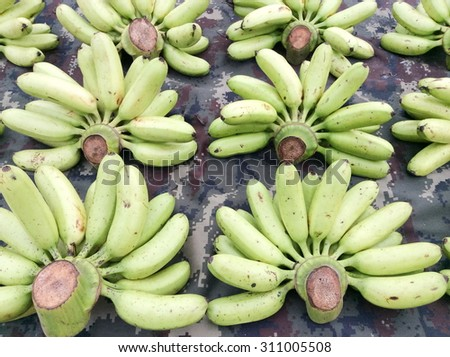 raw green banana stack, wholesale fruit market, bangkok, thailand