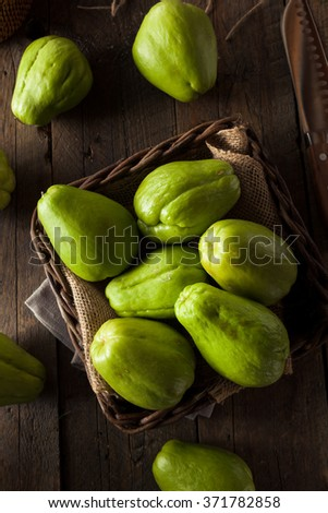 Raw Green Organic Chayote Ready to Eat - stock photo