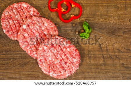 Raw Ground beef meat Burger steak cutlets on wooden table with copy space. top view
