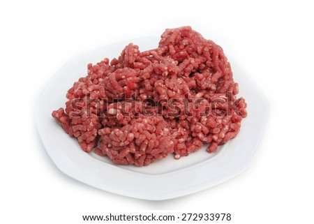 raw ground beef on a plate on white background - stock photo