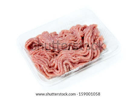 raw ground meat  in box for cooking - stock photo