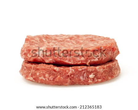 Raw hamburger over white background