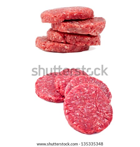 raw hamburgers in white background - stock photo
