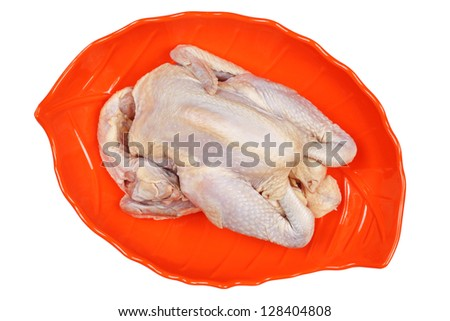 raw hen on a white background