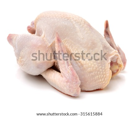 raw hen on a white background - stock photo