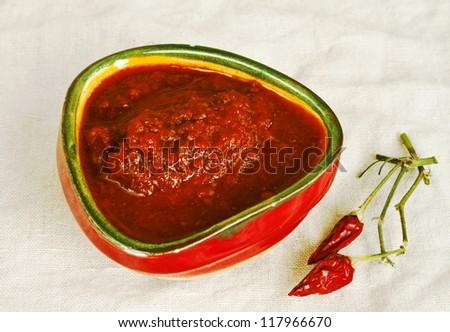 Raw hot georgian sauce adjika - stock photo