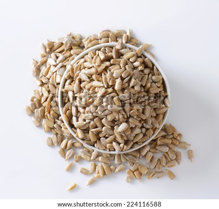 Raw hulled sunflower seed kernels - stock photo