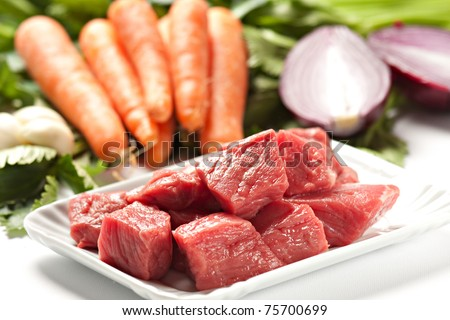 Raw Ingredients For A Traditional Beef Stew Recipe - stock photo