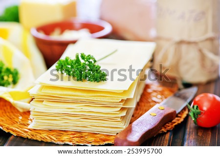 raw ingredients for lasagne - stock photo