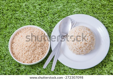 raw jasmine brown rice in white bowl and cooked jasmine brown rice on white plate with spoon and fork on the side, on green grass - stock photo