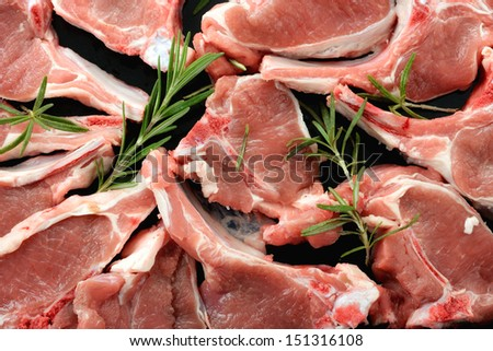 Raw lamb chops - stock photo