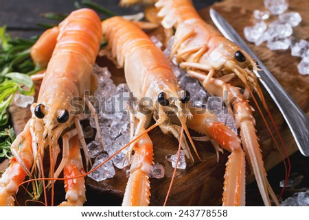 Raw langoustines on ice with herbs and lemon served on vintage cutting board over wooden table - stock photo
