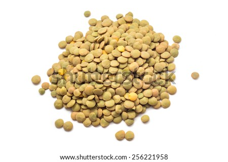 raw lentil beans isolated on white - stock photo