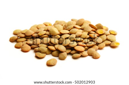 Raw lentil on white background in closeup