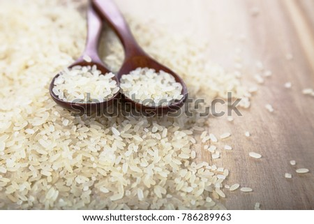 Raw long-grain steamed rice in a spoon on a wooden background. Ingredient for a healthy diet.