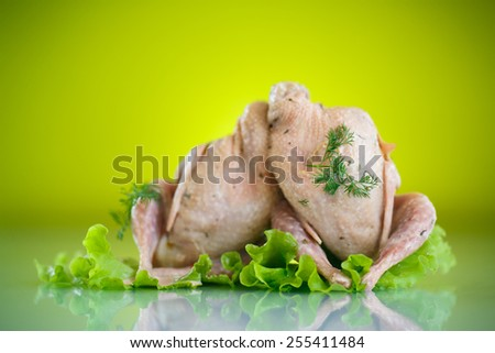 raw marinated quail on a green background - stock photo