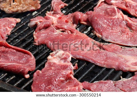 Raw meat cooking on a grill
