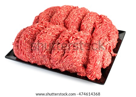 Raw meat. Fresh Minced Mix of Meat in a black tray isolated on white background